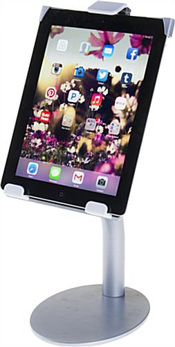 Silver iPad Countertop Mount with Universal Tablet Compatibility