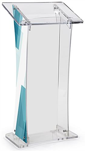 Uv Modern Lectern With Custom Design Silver Standoffs