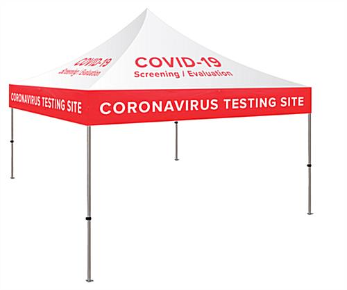 10 x 10 custom event tent with transport bag for COVID-19 testing