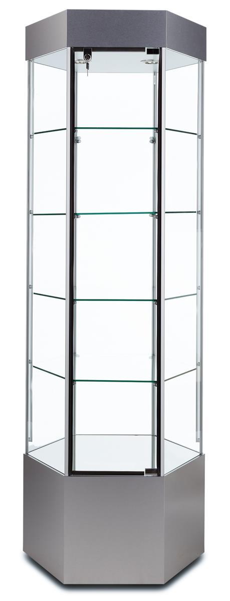 "Tecno Display 25"" Hexagonal Display Case w/ Mirror Deck &..."