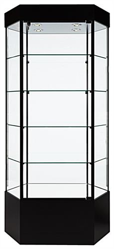 Tower Display: Hexagonal Black Melamine Construction