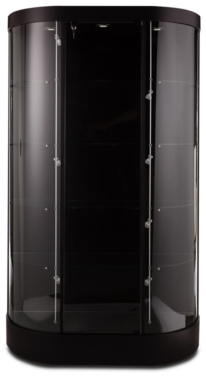 45 Display Case W Curved Front Locking Hinged Door Led Track Lights Black