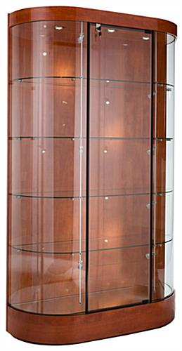 Display Case Cherry Laminate Finish Curved Glass Front