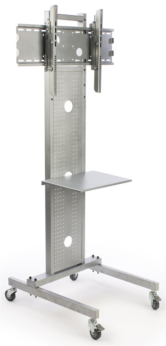 Tv Stand For Floor With Shelf Fits Monitors 37 To 70 Tilting Wheels Silver