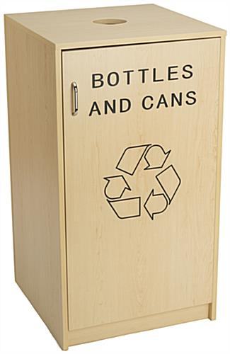 Recycling Containers for Cans and Bottles with Maple Finish