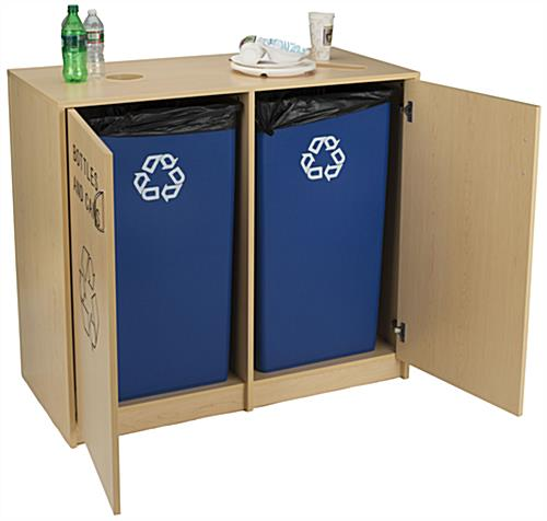 Indoor Recycling Cabinet with Sturdy Frame