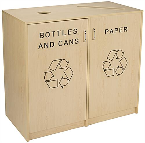 Indoor Recycling Cabinet with Engraved Message