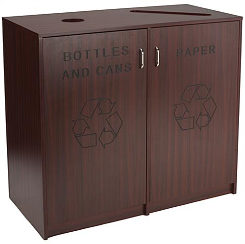 Recycling Office Bins with Mahogany Finish