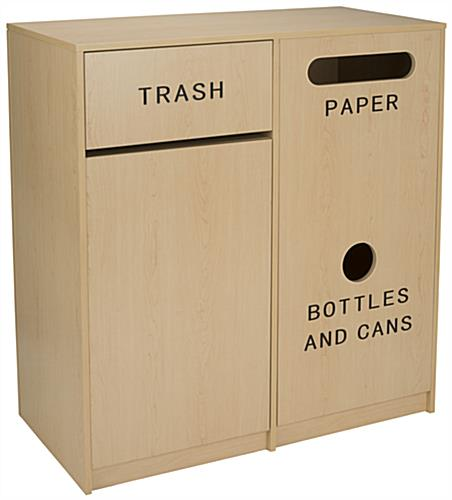 Food Court Trash Receptacles with 3 Separate Compartments