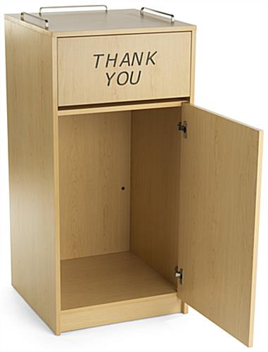 """Non Swinging Doors : Maple tray top waste receptacle """"thank you message"""