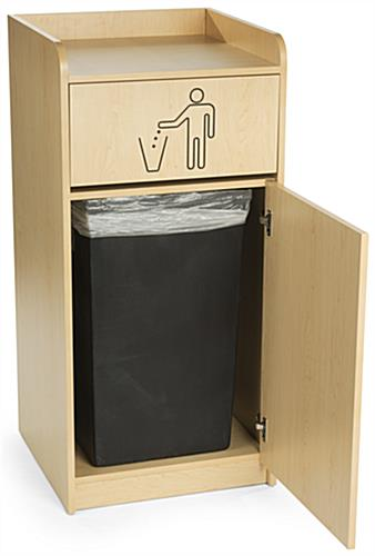 Wooden Tray Top Receptacle, Accommodates a 36 Gallon Bin