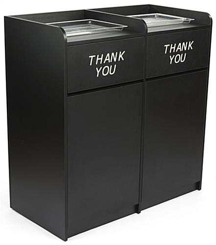 Side By Side Restaurant Waste Receptacles, Tray Top