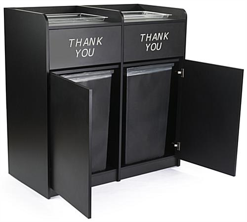 Side By Side Restaurant Waste Receptacles, Supports (2) 36 Gallon Bins