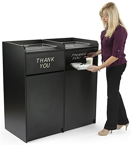 side by side restaurant waste receptacles white letters