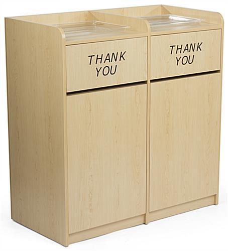 Maple Wooden Restaurant Trash Cans w/ Recessed Top
