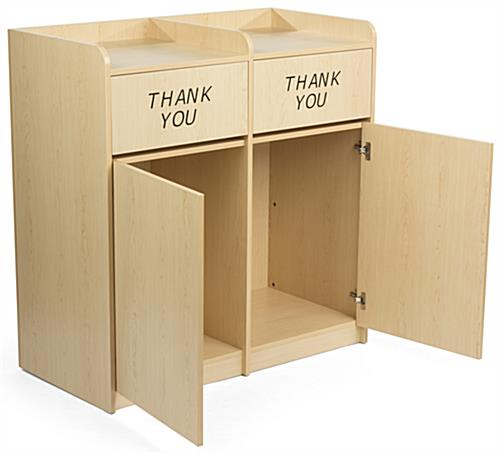 ... Maple Wooden Restaurant Trash Cans Hinged Doors ...