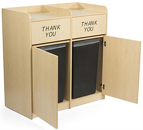 ... Maple Wooden Restaurant Trash Cans, Fits (2) 36 Gallon Bins ...