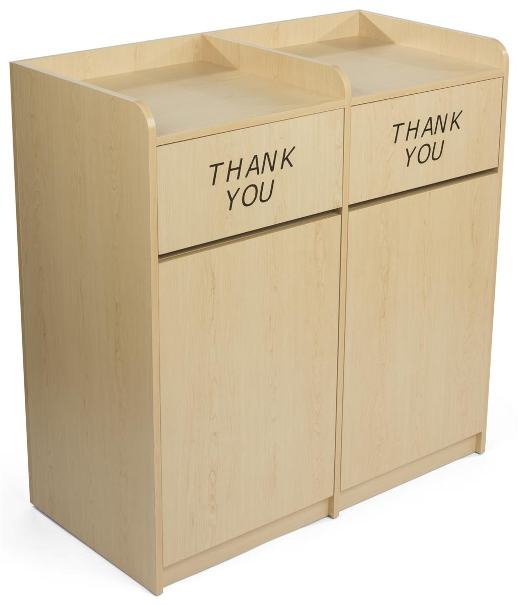 Maple Wooden Restaurant Trash Cans Engraved Thank You