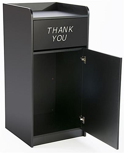 Thank You Trash Can Has a Swing Door For Garbage