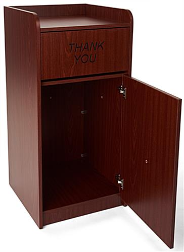 "Wooden Restaurant Trash Can w/ Engraved ""Thank You"" Message"