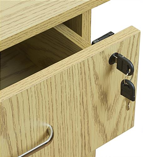 Oak L-Shaped Desk, Lockable