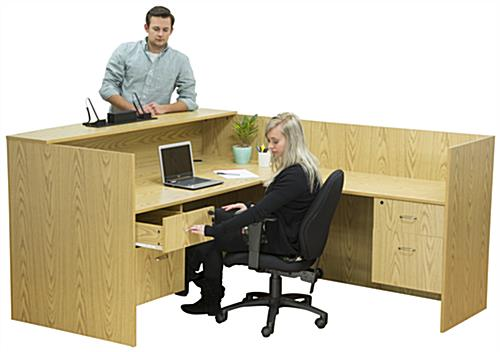 Oak L-Shaped Desk with Wire Management