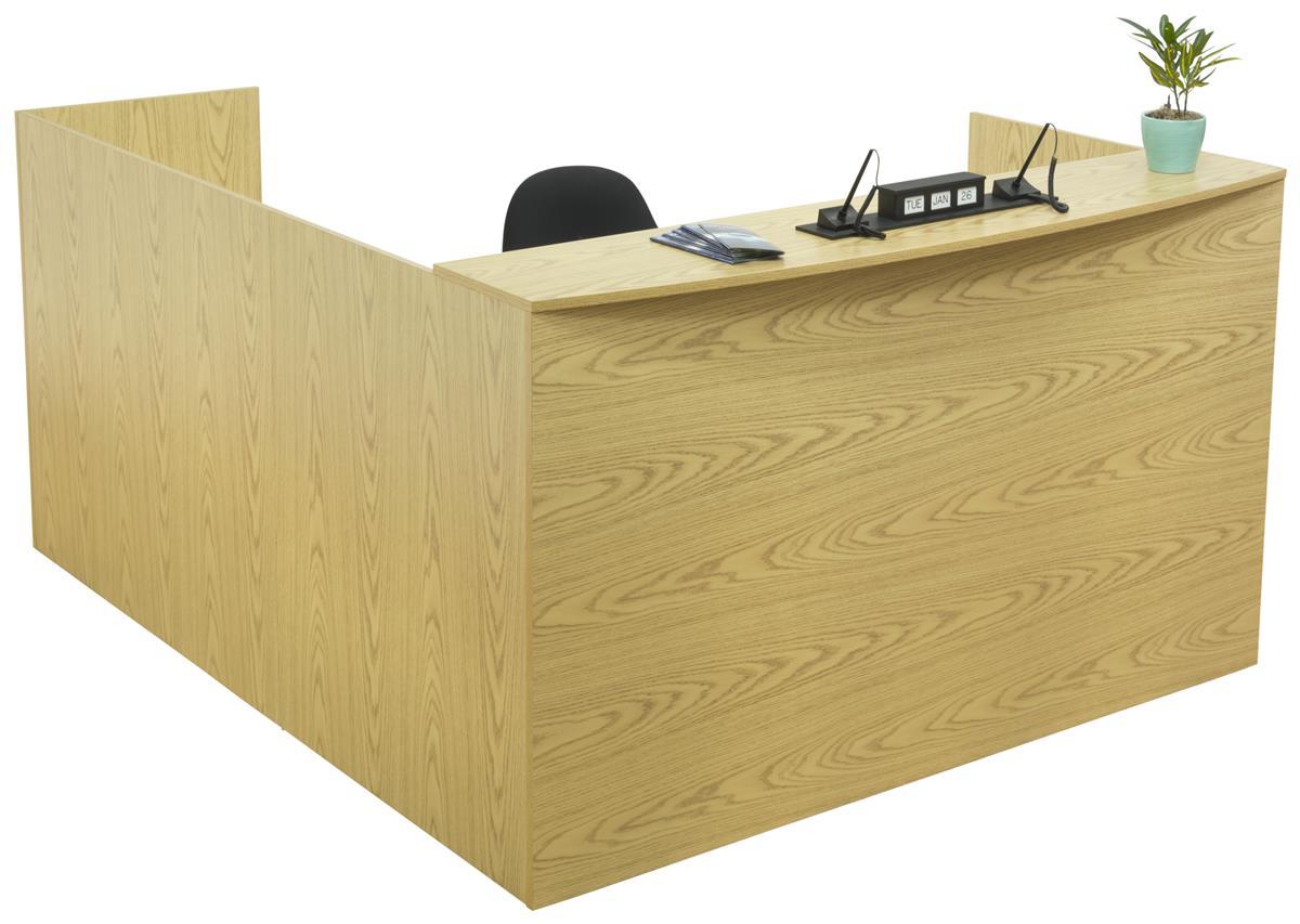 Oak L Shaped Desk Two Locking Drawers