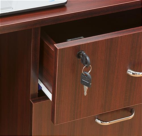 l shaped reception desk 4 mahogany drawers. Black Bedroom Furniture Sets. Home Design Ideas