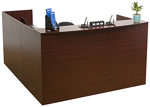 L-Shaped Reception Desk, Mahogany