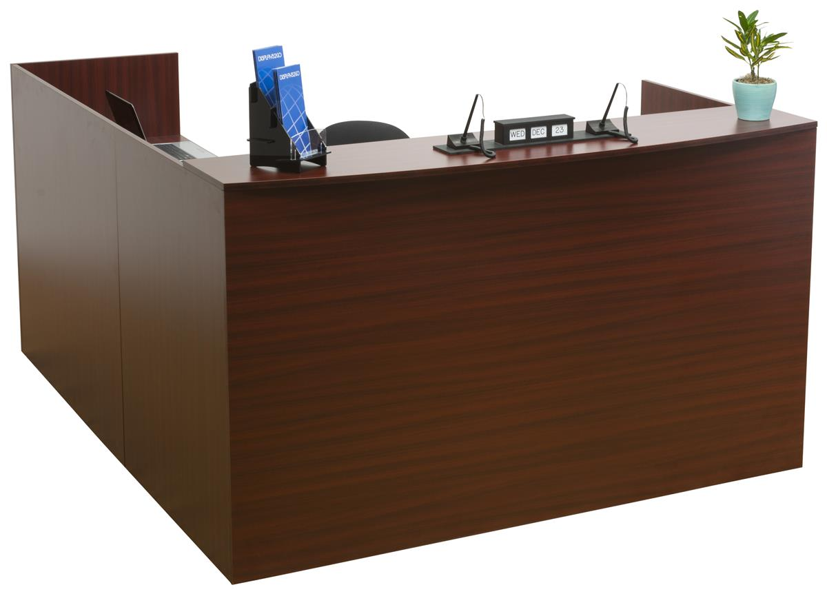 L Shaped Reception Desk 4 Mahogany Drawers