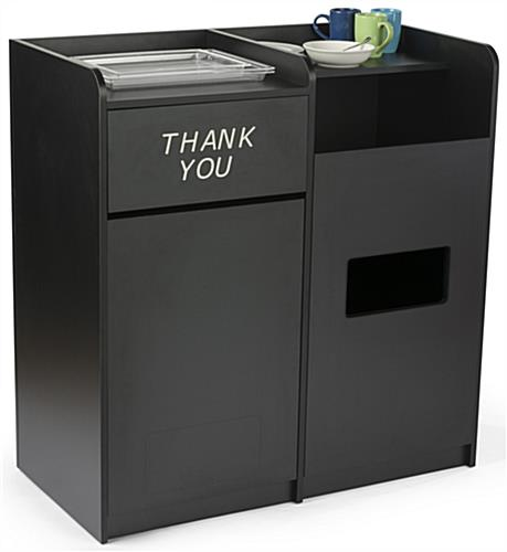 Side By Side Recycling and Waste Receptacle w/ Tray Top
