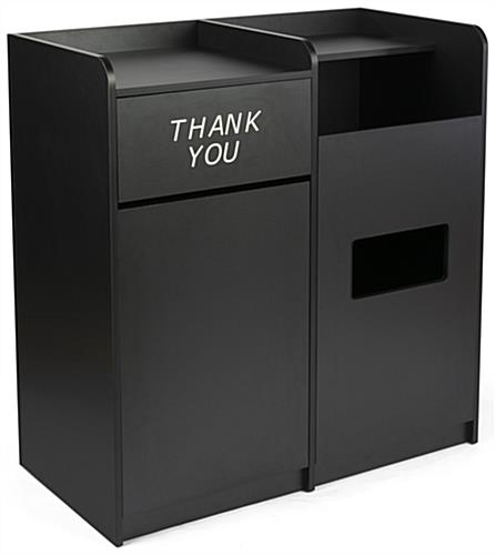 Black Side By Side Recycling and Waste Receptacle