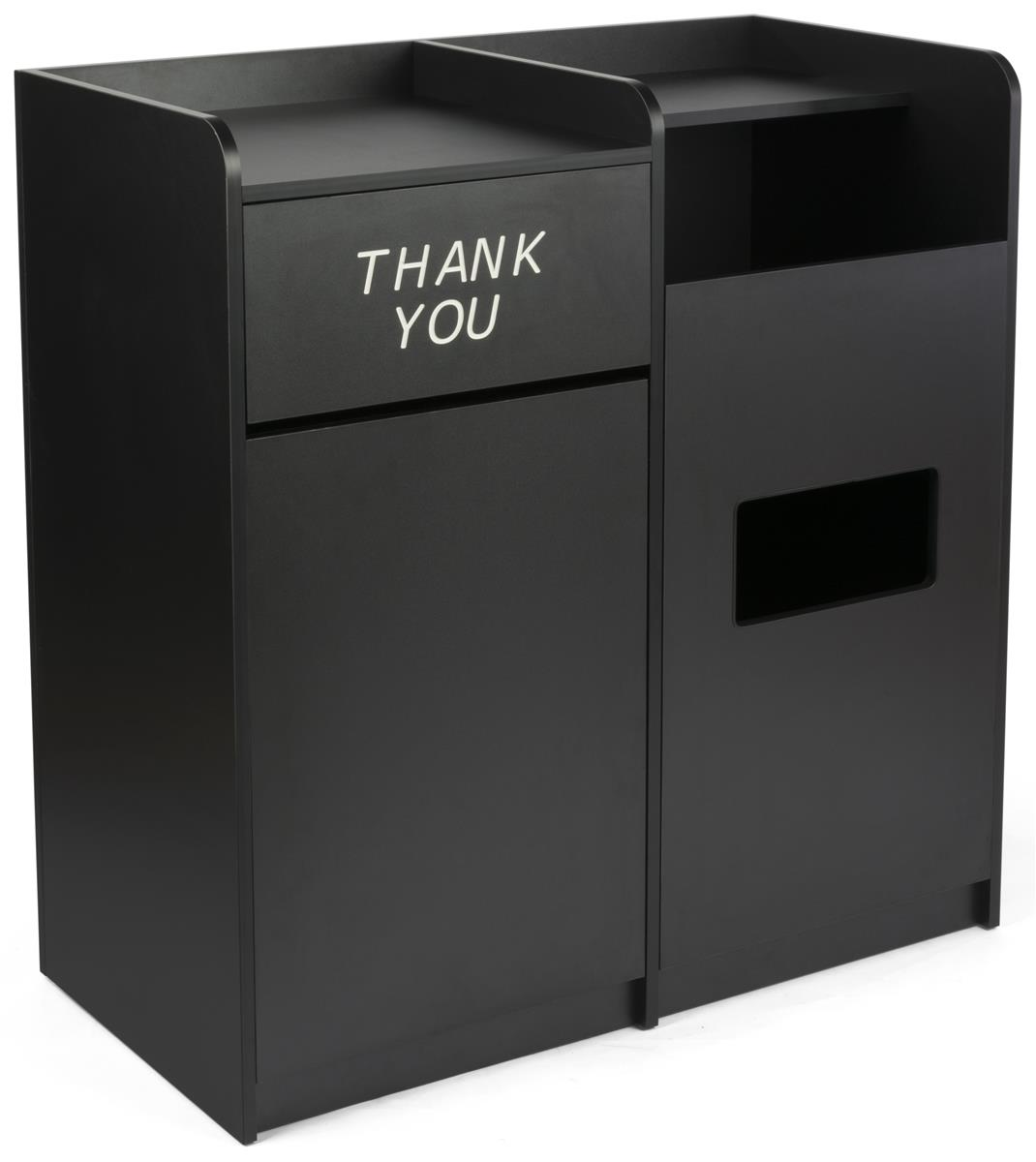 side by side recycling and waste receptacle dual bins. Black Bedroom Furniture Sets. Home Design Ideas