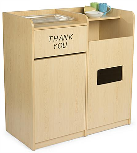 Dual Trash Can and Recycling Receptacle w/ Tray Top Areas