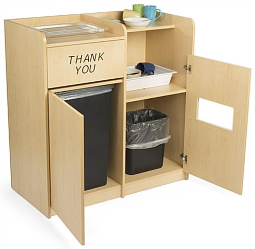 dual trash can and recycling receptacle dish compartment. Black Bedroom Furniture Sets. Home Design Ideas