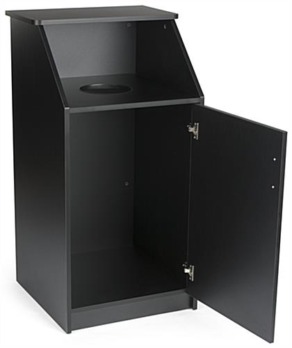 Black Waste Receptacle Enclosure, Hinged Door