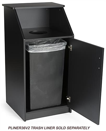Trash can with custom printing is capable of housing a 36 gallon waste bin