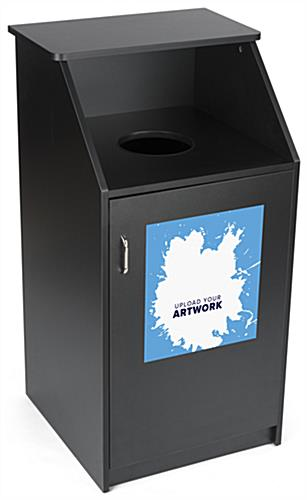 Trash can with custom printing with full color and full panel graphic
