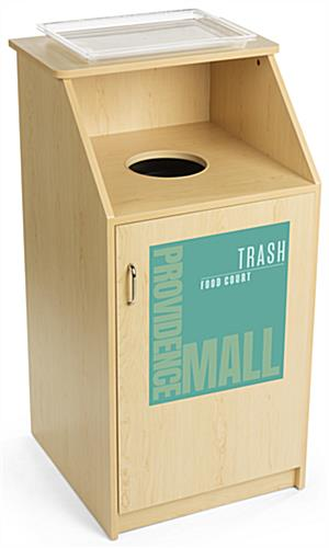 Waste receptacle with custom graphic has top shelf for holding trays
