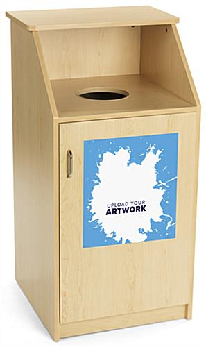 Waste receptacle with custom graphic easily applies and removes