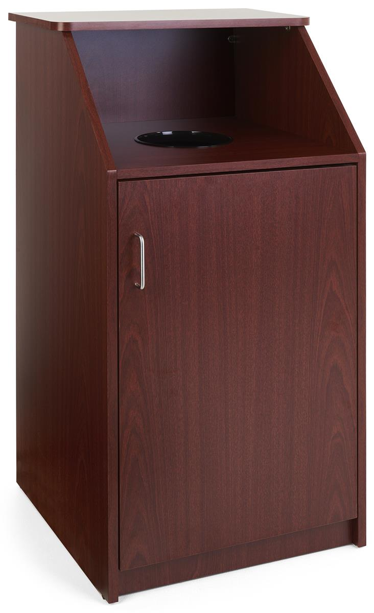 top drop waste receptacle mahogany finish. Black Bedroom Furniture Sets. Home Design Ideas
