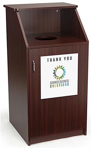 Custom printed trash can receptacle has full color graphics