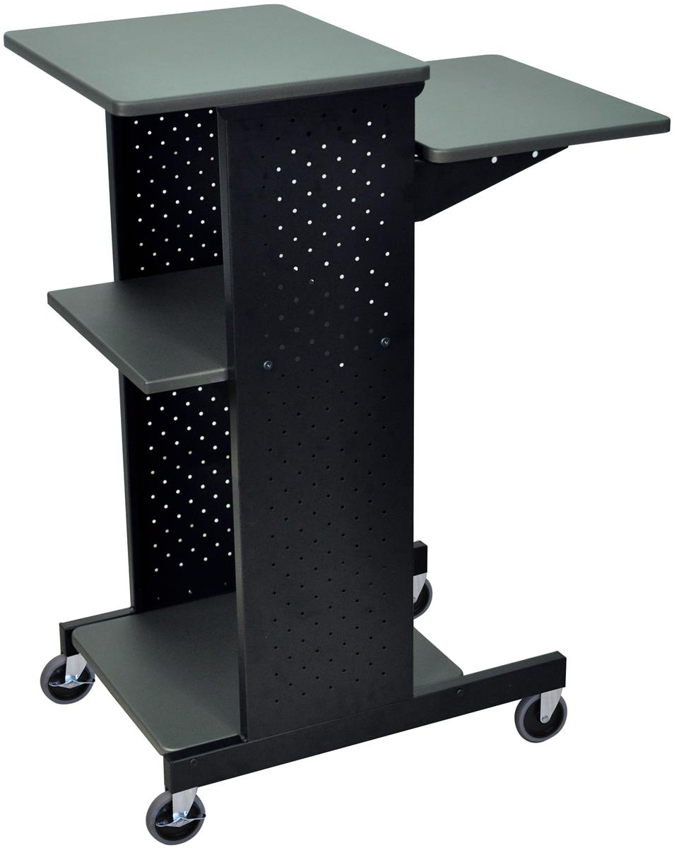 Laptop Station With Wheels 4 Storage Shelves
