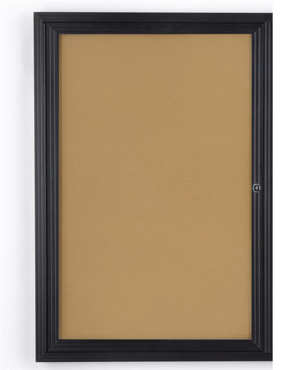 Enclosed Cork Board 24 Quot X 36 Quot W Locking Door Black