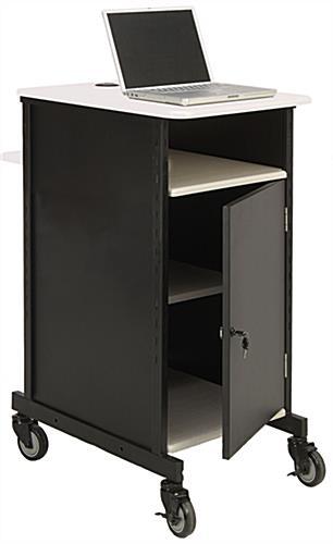 Metal Computer Cart | Locking Cabinet & Grommets