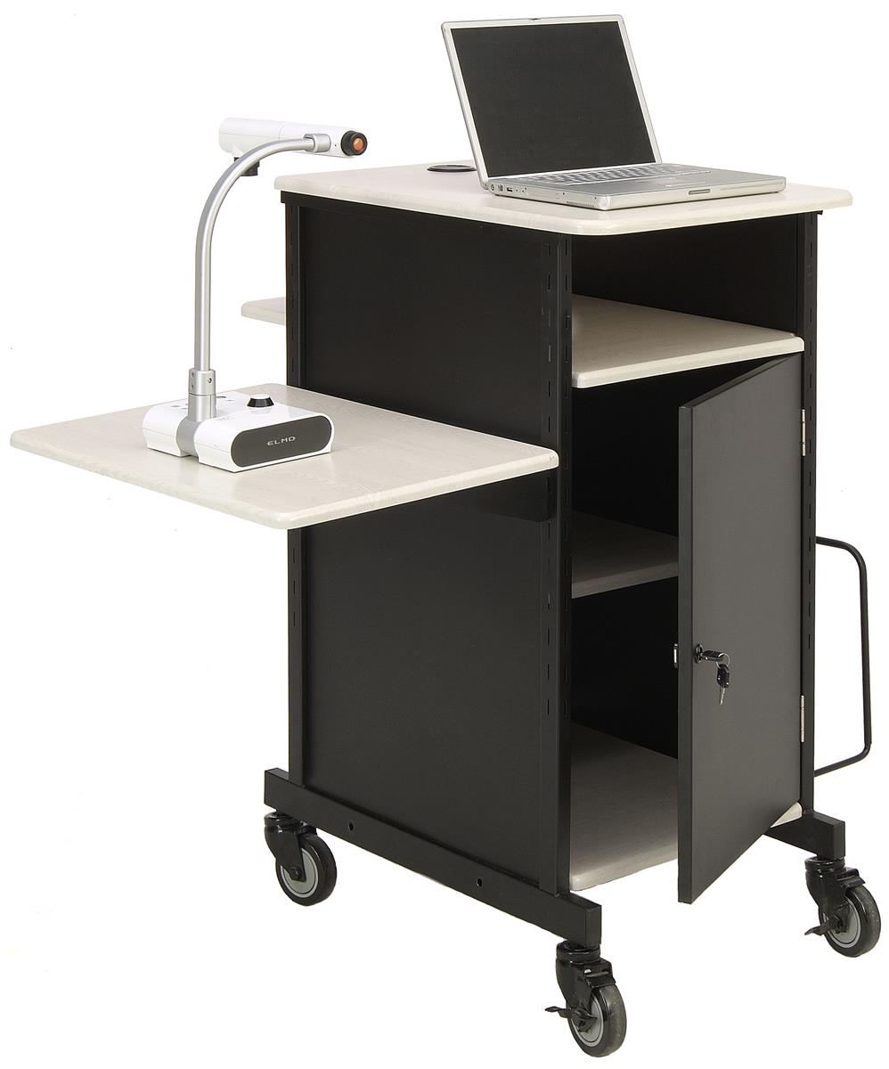 Document Camera Cart Locking Cabinet Amp Adjustable Side Shelf