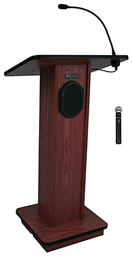 Simple Podium with Wireless Microphone, Mahogany