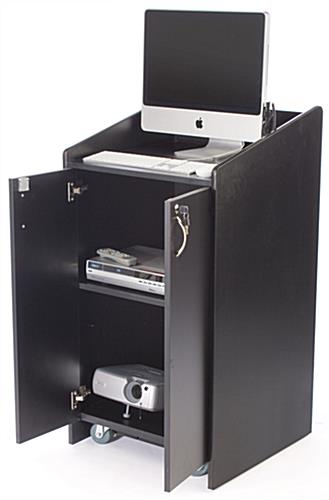 This Black Pulpit With Laminate Locking Cabinet Features