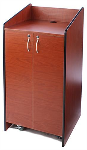 25 Quot Cherry Floor Standing Podium W Locking Storage Cabinet