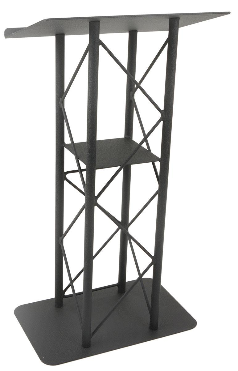 Displays2go Truss Lectern with Interior Shelf, Open Front...